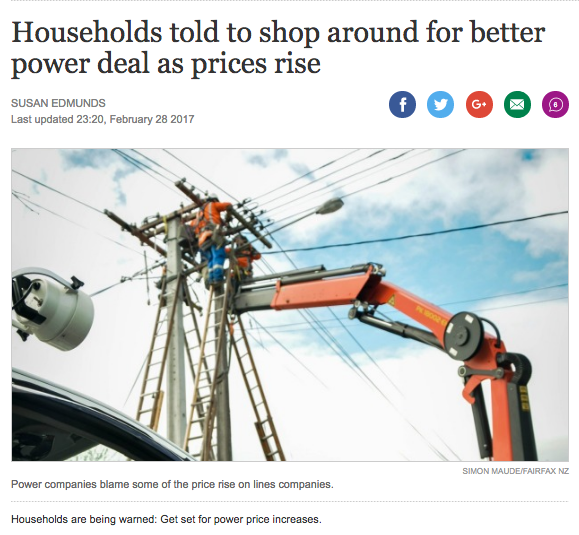 Stuff.co.nz article - Households told to shop around for better power deal as prices rise