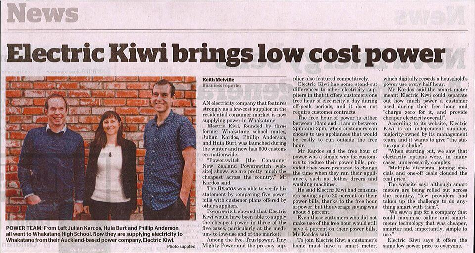 Julian Kardos spoke to the Whakatane Beacon about bringing cheaper power to Whakatane